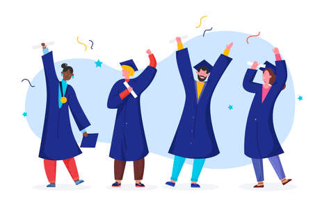 Student graduate vector illustration. Cartoon happy flat graduated people in academic gown robe, graduation cap holding diploma, character celebrating university or school graduation isolated on white