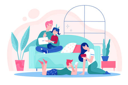 Family people at home vector illustration. Cartoon happy father, mother and children using tablet, smartphone gadgets for social media activity, gadgeteer character and family gadgetry addicts concept
