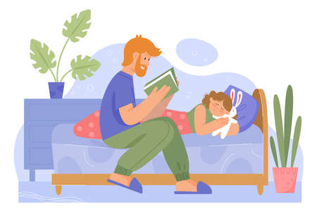 Father with daughter family time vector illustration. Cartoon dad character reading bedtime fairytale story book to little baby girl in bed for good night sleep. Flat happy family fatherhood concept