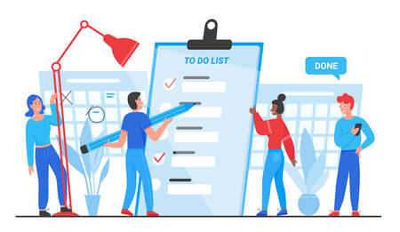 To do list, goals complete concept vector illustration. Cartoon flat tiny people group planning, standing near checklist planner paper document, marking completed business tasks isolated on white Çizim