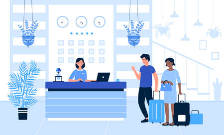 Hotel reception vector illustration. Cartoon flat tourist or traveller people standing at desk in office lobby room interior, guests talking with receptionist, registration hotel service background