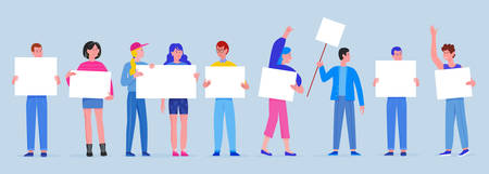 Men and women with posters placards. Young people holding clean empty board banners sings flat vector illustration. Protesting crowd, demonstration, political meeting, parade and protest Иллюстрация