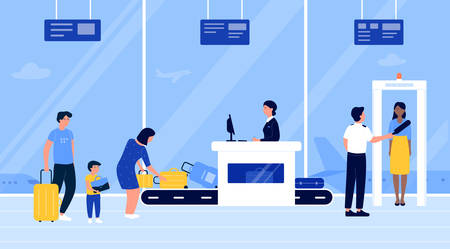 People in airport security check vector illustration. Cartoon flat passengers put luggage baggage on conveyor belt machine, go through scanner checkpoint gate. Airline terminal interior background Illustration