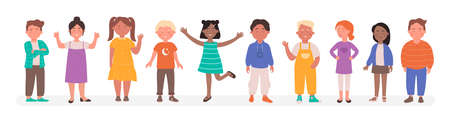 Happy diverse kids vector illustration. Cartoon flat child characters group of different race smiling, preschool or school small boy and girl standing together in line, children set isolated on white Vektoros illusztráció