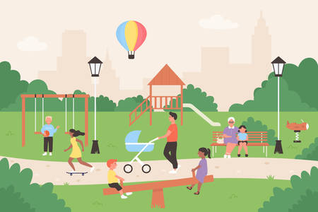 People in summer city park vector illustration. Cartoon flat family and children characters sitting on bench, kids playing games, have fun together. Summertime outdoor activity in park background