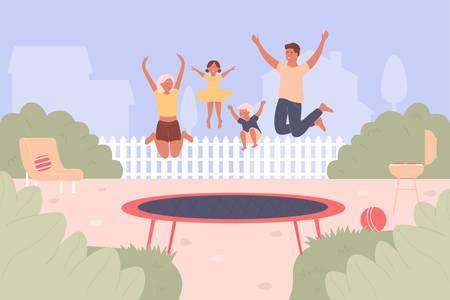 Trampoline jumping vector illustration. Cartoon flat family people jump and have fun together, active happy jumper characters bounce high on trampoline. Summer leisure outdoor activity background Иллюстрация