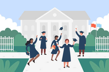 Happy graduate students vector illustration. Cartoon flat young people of different nations jumping with cap, certificate or diploma in hands, characters celebrating graduation education background