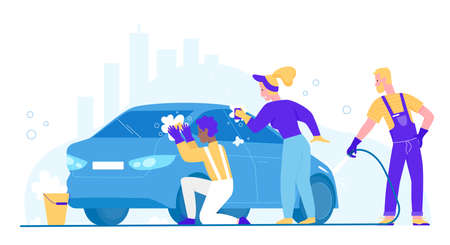 People wash car vector illustration. Cartoon flat woman man washer characters cleaning dirty automobile, washing auto with sponge and soap bubble. Carwash business service station isolated on white