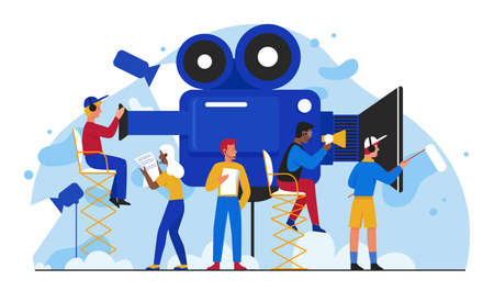 Cinema film production vector illustration. Cartoon flat filmmakers people team making movie, tiny cameraman shooting video film in studio. Multimedia visual entertainment industry isolated on white