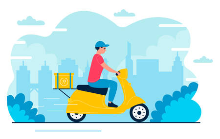 Deliveryman vector illustration. Cartoon flat fast courier, postman character driving scooter, delivering package box in express shipment to home address. Fast delivery service isolated on white