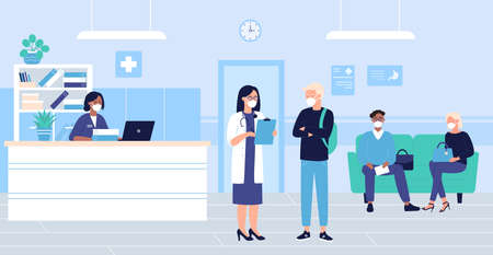 People wait in hospital hall interior vector illustration. Cartoon flat patient woman man characters in masks sitting in doctor reception room, waiting for doctoral exam. Medical healthcare background