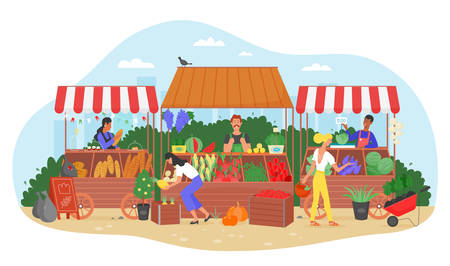 Organic food farm market vector illustration. Cartoon flat farmer seller character selling fresh harvest fruit and vegetable at street marketplace stall, people in local street fair isolated on white