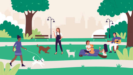 People in summer outdoor city park vector illustration. Cartoon happy flat woman man friends have fun on picnic, active character walking or playing with pet dog, summertime leisure weekend background Çizim