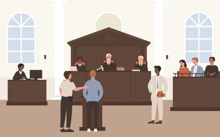 Les gens en illustration vectorielle de Cour. Avocat à plat de dessin animé et personnage accusé debout devant le juge et le jury sur le processus de défense juridique ou le tribunal de la cour, arrière-plan intérieur de la salle d'audience Vecteurs