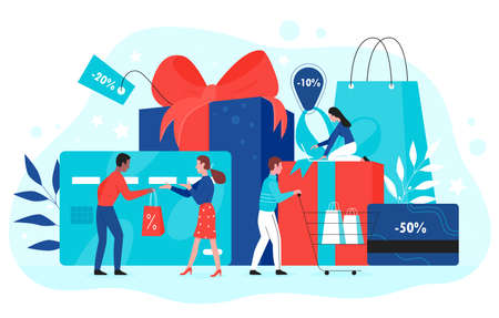 Gift card promotion concept vector illustration. Cartoon flat buyer people buy gifts with red ribbon in shop, using shopping gift voucher, discount coupon, promo loyalty certificate isolated on white 일러스트