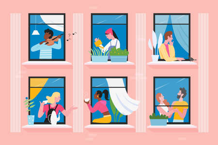 Neighbors people in house windows vector illustration. Cartoon flat man woman characters communicate, play violin, feed birds. Daily activity in neighboring home apartments, building facade background 벡터 (일러스트)