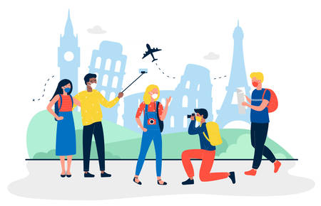 Tourists with medical masks are at sightseeing flat travel vector illustration. People making photo and selfie for memory. Men and women wearing protection from virus. Travel agency concept