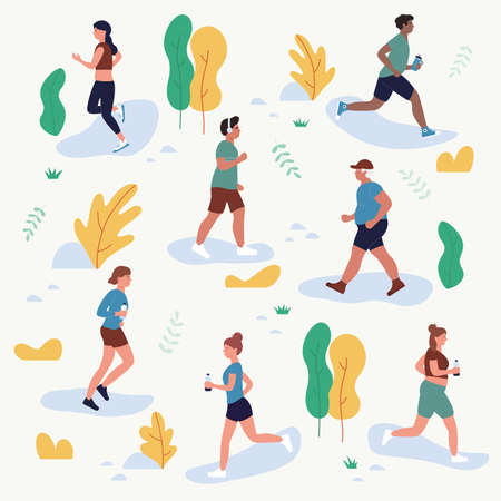 People run in park vector illustration set. Cartoon flat man woman runners characters jogging marathon in city park or street, jogger athlete in outdoor healthy sport activity isolated on white