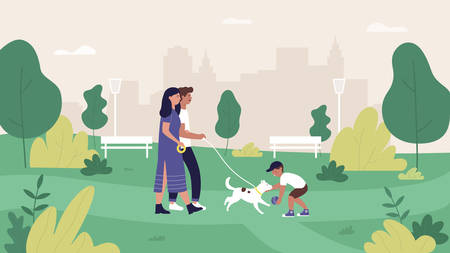 Family people in summer city park vector illustration. Cartoon flat mother, father and son characters walking and playing with pet dog in green park landscape, cityscape with happy family background Illustration