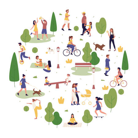 Summer park outdoor activity vector illustration. Cartoon flat active people spend time in city park together, walking or playing with dog, have fun and do sport workout exercises isolated on white Vettoriali