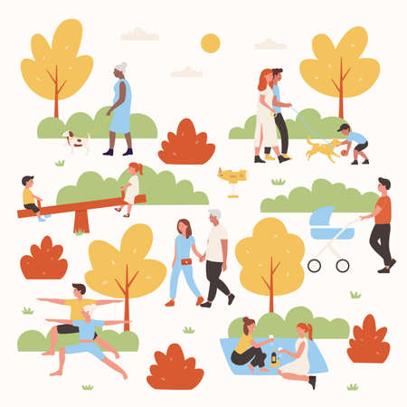 People relax in park vector illustration. Cartoon flat woman man couple characters or family with kid have fun in summer city park, walk, do yoga outdoor exercises, relaxing weekend isolated on white Vettoriali