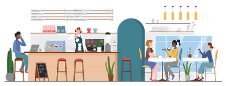 People in bar cafe vector illustration. Cartoon flat man woman friend characters meeting at cafeteria for coffee cup or dessert and talking, barista making hot drink at bar counter interior background