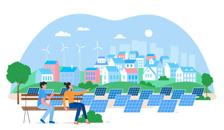 Alternative city green energy concept flat vector illustration. Cartoon urban cityscape with people enjoying view of eco friendly housing complex, houses, windmills, solar panels isolated on white