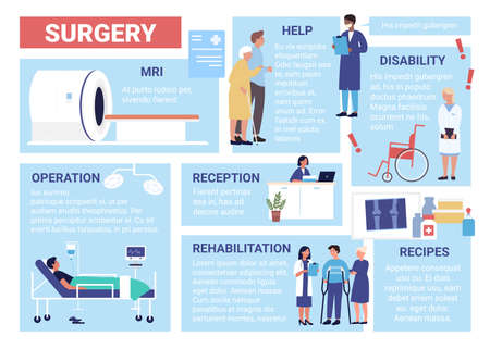 Surgery healthcare infographic vector illustration. Cartoon flat health care surgical hospital departments of reception, doctor medical checkup and treatment, clinic surgery medicine poster background Vectores