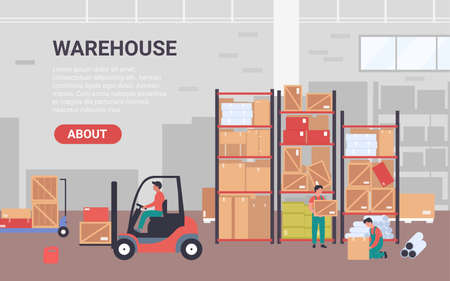 People work in warehouse vector illustration. Cartoon flat banner for warehousing company with workers characters packing goods pipes into packages, loading boxes using forklift loader background
