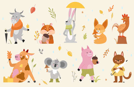 Autumn animals vector illustration set. Cartoon hand drawn autumnal woodland collection with cute animal characters enjoying fall season in forest, funny cow goat rooster fox hamster pig cat hare Vector Illustratie