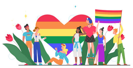 LGBT pride month concept vector illustration. Cartoon young group of lover people standing together, waving, holding rainbow heart and LGBT flag in hands, homosexual rainbow love isolated on white Illustration