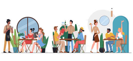People in cafe flat vector illustration. Cartoon friend or couple characters sitting at tables, dining and talking, ordering dinner food from waiter in restaurant cafeteria interior isolated on white