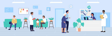 Hospital reception vector illustration. Cartoon flat patient characters waiting doctors appointment, older hospitalized woman and man come to receptionist desk. Healthcare medicine office background