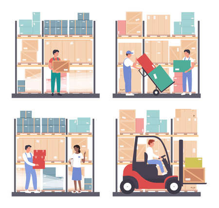 Warehouse logistics vector illustration set. Cartoon flat worker people work in wholesale stockroom of storehouse, carry boxes, transport and load packages with stock forklift loader isolated on white Vector Illustration