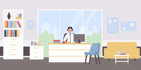 Doctor appointment flat vector illustration. Cartoon physician woman character sitting at doctoral medical workplace in modern hospital clinic office interior, doctor waiting for patients background Vettoriali