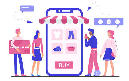 Online shopping application vector illustration. Cartoon tiny flat man woman buyer characters buying clothes and accessories, using mobile shop app, clothing internet store concept isolated on white