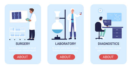 Hospital department vector illustration set. Cartoon flat vertical mobile app website banners, screen interface design with medical laboratory research, lab diagnostics, traumatology surgery medicine