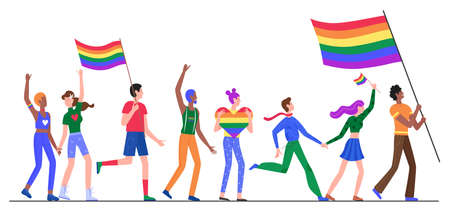 People on LGBT pride parade vector illustration. Cartoon flat lesbian gay bisexual transgender queer character group holding rainbow flag on sexual discrimination protest LGBT parade isolated on white