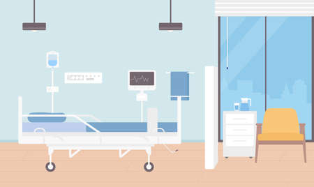 Hospital room interior vector illustration. Cartoon empty ward for patients hospitalization with modern medical equipment, doctors examining monitor, bed and chair. Healthcare medicine background Illustration