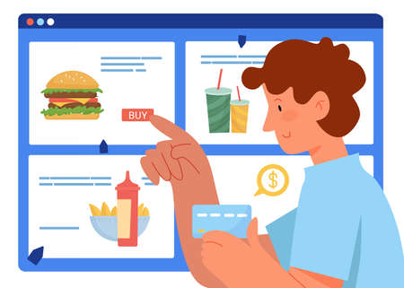 People buy online vector illustration. Cartoon flat man buyer character holding payment card in hand, ordering and buying fastfood in online grocery store or pizzeria, food delivery service background