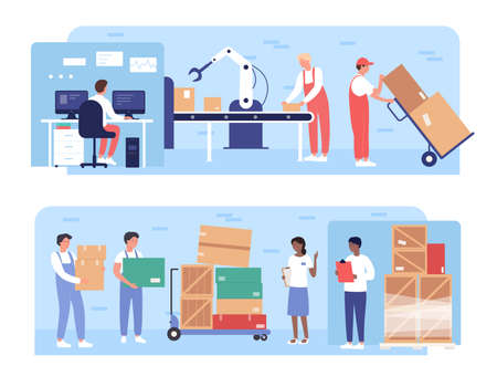Warehouse packaging work vector illustrations. Cartoon flat worker people working on warehousing conveyor with robotic arm equipment, load boxes on pallets, stockroom loading process isolated on white Illustration