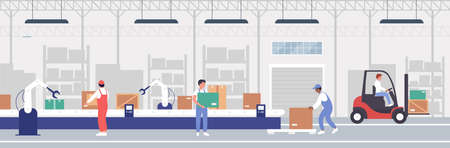 Warehouse packaging process automation vector illustration. Cartoon flat worker people working on warehousing conveyor belt with automatic robot arm equipment to assist in loading operation background