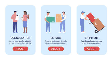 Warehouse workers vector illustration banner set. Cartoon flat mobile app for warehousing company website, screen interface design with man woman staff people working, loading boxes in storehouse