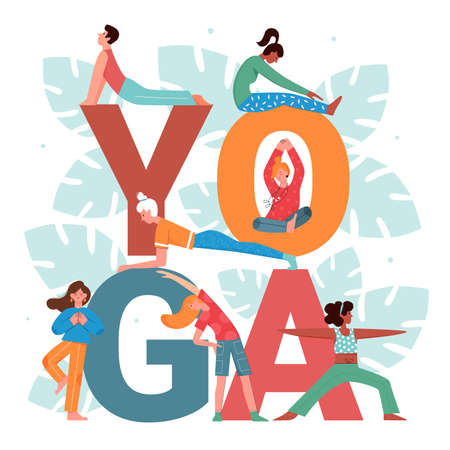 Yoga activity vector illustration set. Cartoon flat active people doing yogi asana pose practice, man woman characters stretching, meditating next to big yoga word and floral leaves isolated on white