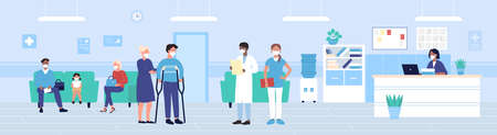 Hospital reception vector illustration. Cartoon flat people in protective masks waiting exam in hospital hall interior, disabled man patient on crutches standing next to doctors team background 일러스트