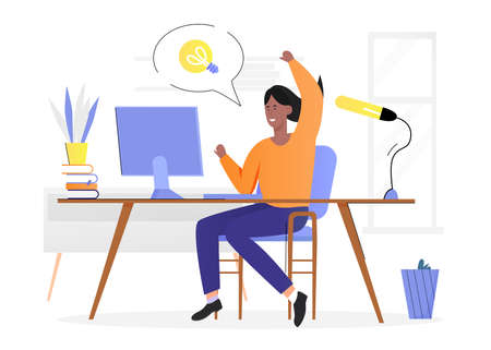 People with lightbulb idea concept vector illustration. Cartoon flat happy woman character sitting at desk, got new innovative idea, have light bulb creative mark in bubble above isolated on white