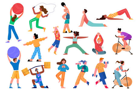 Sport activity vector illustration set. Cartoon flat active sportsman collection with man woman character doing yoga asana, fitness exercises with dumbbells in gym, healthy lifestyle isolated on white Ilustracja
