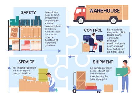 Warehouse service infographic vector illustration. Cartoon flat work process of warehousing company with control of cargo transportation by truck, packing goods by workers, packages safety background