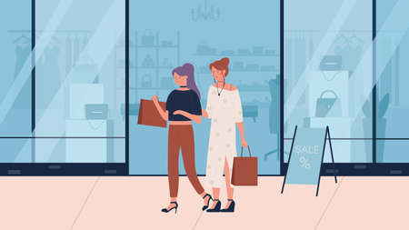 Woman shopping flat vector illustration. Cartoon happy young beautiful fashionable girl friend characters with shopper bags walking next to clothing stores shopwindows. Fashion shop sales background