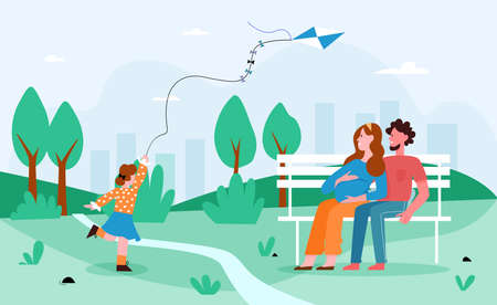 Family people in park vector illustration. Cartoon flat happy pregnant mother and father spend time together with girl kid in city park, child running with kite, summer outdoor activity background